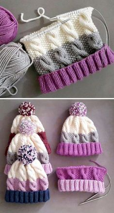 Cozy Cable Knit Hat - Free Pattern - Knitting is as easy as 3 The knitting . Cozy Cable Knit Hat – Free Pattern – Knitting is as easy as 3 Knitting boils down to thre Baby Knitting Patterns, Loom Knitting, Knitting Stitches, Crochet Patterns, Crochet Tutorials, Blanket Patterns, Knitting Machine, Crochet Ideas, Hand Knitting