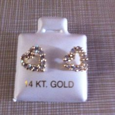 Petite Gold 14K heart earrings 14 k gold  sparkly and around 1/4 if an inch pls see pictures about sizing perfect gift for a first pierce earrings Jewelry Earrings