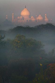 The Taj Mahal in the distance.