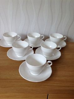 AYNSLEY Bone China, 6 Teacups And 6 Saucers, Excellent Vintage Condition