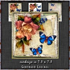 Vintage Watercolor Roses With Butterflies 1303 on Craftsuprint - View Now!