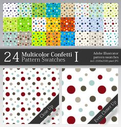 24 Multicolor Confetti Pattern Swatches I - Abstract Textures / Fills / Patterns. Addons Illustrator. Download here: http://graphicriver.net/item/24-multicolor-confetti-pattern-swatches-i/49914?s_rank=1126&ref=yinkira