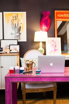 The Chrystie Street Desk – Society Social Office Interior Design, Office Interiors, Design Desk, Interior Ideas, Chic Office Decor, Creative Office Decor, Pink Desk, Better Homes And Gardens, Furniture Decor