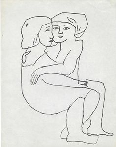 Drawing by Andy Warhol (1928-1987), ca 1954, Couple Embracing, ink on paper.