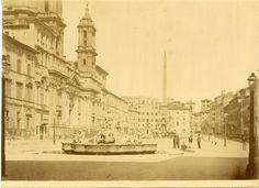 Piazza Navona Vintage albumen print Tirage albuminé 20x25 Circa 1875 Italy Vacation, Italy Travel, Piazza Navona, Paris Skyline, Taj Mahal, Places To Visit, City, Vintage, Rome