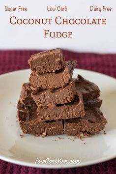 A delicious dairy free coconut chocolate fudge made with coconut oil and almond or coconut milk. This low carb chocolate fudge makes a tasty fat bomb snack.
