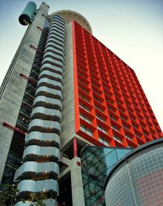 Hesperia Tower in Barcelona, designer postmodern architecture by Richard Rogers