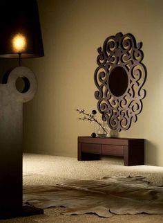Espejos de diseño en madera modelo CASSANDRA Chocolate Grande. Decoración Beltrán, tu tienda de espejo online.