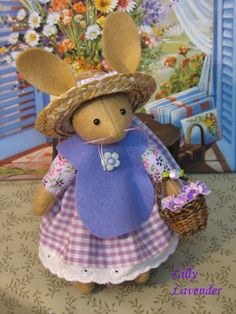 Lilly Lavender  Handmade bunny doll   So adorable and so very sweet. $36.00, via Etsy.