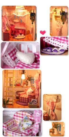 Creative Gifts DIY Hut Sunshine Alice Assembled Model with Lamp Villas Birthday Gift : SHOP