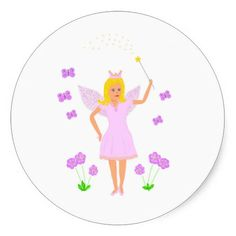 Fairy Princess, option to add name, other text Round Sticker http://zazzle.com/artistjandavies*