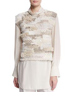Jewel-Neck Sleeveless Cropped Sweater, Macadamia, Women's, Size: LARGE - Brunello Cucinelli