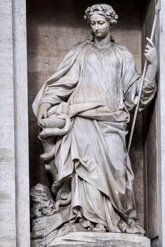 "Trevi Fountain – Allegorical sculpture ""Salubrity"" – Filippo Valle (1697-1768). Donatello Sculptures, Emperor Augustus, Trevi Fountain, Sculpture Art, Sculpture Ideas, Body Drawing, Allegorical Sculpture, Classical Art, Victorian Gothic"