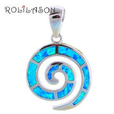 Retail & Wholesale Blue fire Opal Silver Stamped Necklace Pendants for women fashion jewelry Party Birthday OP271