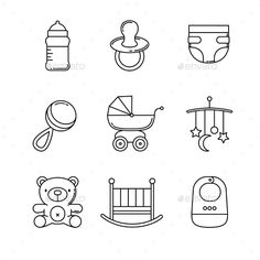 Buy Baby Icons Thin Line Art Set by IconicBestiary on GraphicRiver. Baby icons thin line art set. Black vector symbols isolated on white. Baby Silhouette, Doodle Icon, Doodle Art, Bottle Drawing, Sketch Note, Baby Icon, Baby Shower Invitaciones, Tampons, Baby Bottles