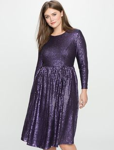 Studio Sequin Fit and Flare Dress from eloquii.com