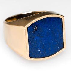 Vintage Estate Mens Natural Lapis Lazuli Bezel Ring Solid 14K Gold Fine Jewelry