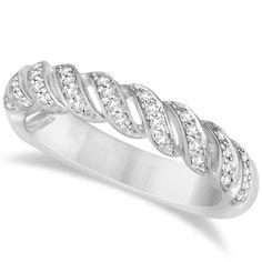 Twisted Wedding Anniversary Band with Diamonds 14K White Gold 0.20ct - Allurez.com