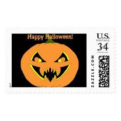 Halloween Pumpkin Postage - Halloween happyhalloween festival party holiday