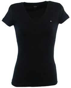 Tommy Hilfiger para mujer con cuello en V color sólido camiseta del logotipo - L…