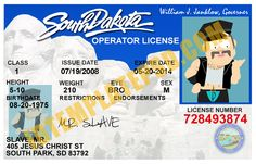 This is South Dakota (USA State) Drivers License PSD (Photoshop) Template. On this PSD Template you can put any Name, Address, License No. DOB etc and make your personalized Driver License.  You can also print this South Dakota (USA State) Drivers License from a professional plastic ID Card Printer and use as per your requirement.