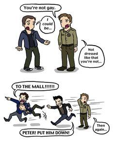 If Peter could help out Allison dress shopping he can definitely sort Stiles out. artist - blackbirdrose.deviantart.com