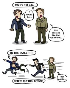 If Peter could help out Allison dress shopping he can definitely sort Stiles out. artist - blackbirdrose.deviantart.com
