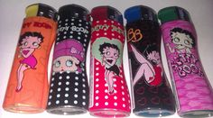 4 x BETTY BOOP DESIGN WINDPROOF Electronic Refillable Cigarette Gas Lighters