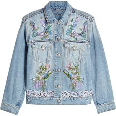 Alexander McQueen Embroidered Denim Jacket (5.090 RON) ❤ liked on Polyvore featuring outerwear, jackets, denim, coats, denim jacket, blue, jean jacket, alexander mcqueen jacket, embroidered jean jacket and embroidered jacket