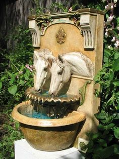 Classical equestrian table wear, sculpture, fountains, paintings for the horse lover's lifestyle. By equestrian artist Patricia Borum Backyard Water Fountains, Garden Fountains, Wall Fountains, Fountain Garden, Jardin Decor, Fountain Design, Equestrian Decor, Water Features In The Garden, Horse Barns