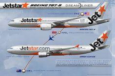 JETSTAR BOEING 787-8 DREAMLINER VH-VKA -AIRBUS A330 VH-EBA CUSTOM ART.  Realistic Airliner Art Illustrations. Facebook page:  www.facebook.com/airlinersillustrated web: www.AirlinersIllustrated.com