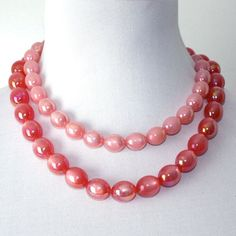 Vintage Double Strand Moonglow Pinks Necklace by GeneralWhimsy2, $18.00