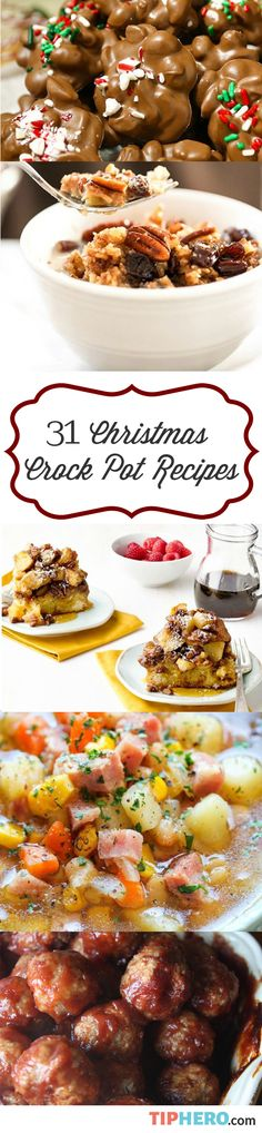 31 Christmas Crock Pot Recipes | This collection of holiday recipes from brunch to appetizers to sides to mains to dessert will help you spend less time in the kitchen and more time celebrating with family! #easyrecipes Christmas Recipes, Christmas Foods, Easy Holiday Recipes, Christmas Candy, Christmas Cookies, Christmas Treats, Christmas Desserts, Holiday Treats, Christmas 2017
