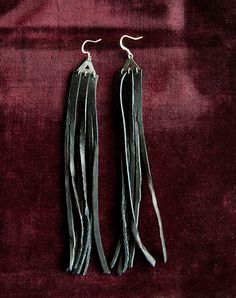 Midnight Rider Long Black Leather Fringe Tassel Earrings