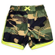 Toddler Boys Camouflage Swim Trunk Green