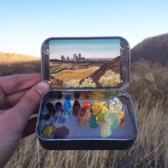 The Colorado-based painter Heidi Annalise creates exceptional tiny landscape paintings that are tucked in a small mint tins. Landscape Art, Landscape Paintings, Watercolor Kit, Illustration Blume, Tin Art, Smart Art, Small Paintings, Pretty Art, Illustrations