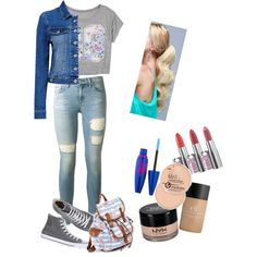 Middle School Outfit  Sorry that the makeup tones don't match.  But I hope you enjoy this outfit. (Created by me - abbya5318)