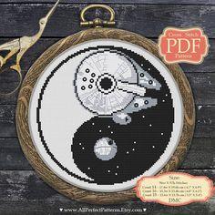 #YinYang #Crossstitch PDF #pattern - #DeathStar - #MilleniumFalcon - #StarWars