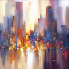 Wilfred Lang He was born in 1954 in Shanghai and began his artistic career at the incredible age of only seven years. From 1972 . Skyline Painting, City Painting, Abstract Landscape, Landscape Paintings, Abstract Art, Fantasy Paintings, City Art, Art Images, Pop Art
