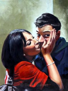 Just a Kiss - Oil Paintings Oil Paintings, Kiss, Couple Photos, Couples, Fictional Characters, Art, Couple Shots, Art Background, Kunst