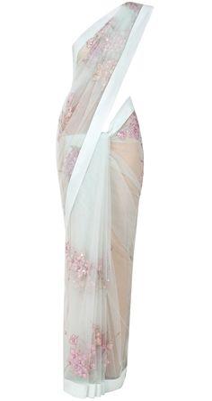 Sea foam net sari by SHEHLA KHAN. Shop at http://www.perniaspopupshop.com/whats-new/shehla-khan-7241