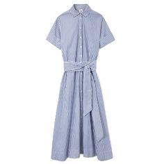 Lisa Marie Fernandez Striped Poplin Shirtdress - Tie-Belt Shirtdress - ShopBAZAAR