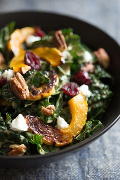 Kale Salad With Roasted Delicata Squash, Chevre, Dried Cranberries And Spiced Pecans Recipe on Yummly. @yummly #recipe