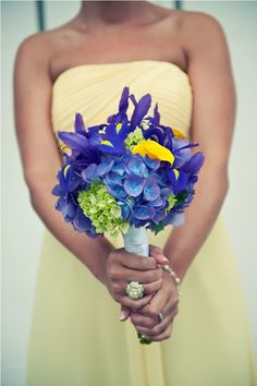 Elegant yellow and indigo wedding bouquet