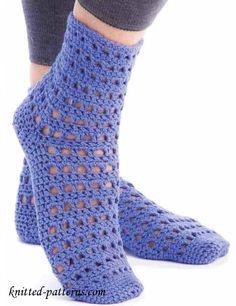 Crochet lace socks pattern free