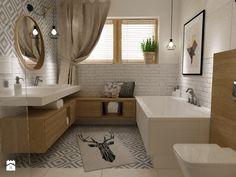 łazienki w stylu skandynawskim - Duża łazienka w domu jednorodzinnym z oknem, styl skandynawski - zdjęcie od Grafika i Projekt architektura wnętrz