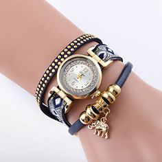 Rhinestone Faux Leather #Elephant Bracelet Watch #Watches #wristwatches #Coupons Strand Bracelet, Bracelet Watch, Cheap Charm Bracelets, Elephant Bracelet, Stylish Watches, Vintage Watches, Quartz Watch, Fashion Watches, Leather