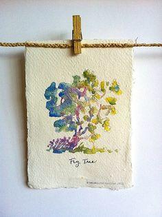 Fig Tree Art Print on Handmade Paper from Original by PebbleandBee, £8.00