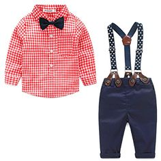 Baby Boy Gentleman Bow Tie Long Sleeve ShirtSuspenders Pants Outfit Set * Visit the image link more details. Note:It is affiliate link to Amazon.