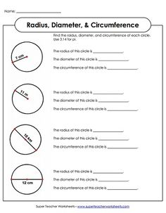 Diameter And Radius Practice